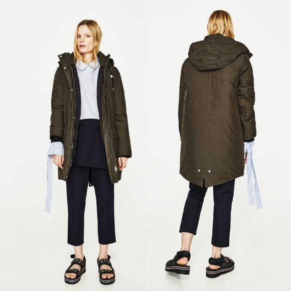 NEW ZARA Gray = Olive Green Hooded Oversized Parka NWT